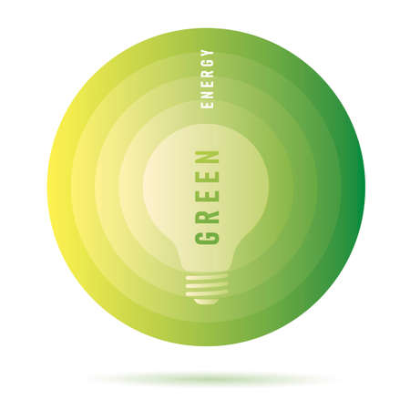 Green energy infographic element with light bulb silhouette on circle, isolated Vectores