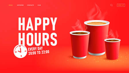 Happy hours web banner for coffee shop with paper cups to go woth americano and cappuccino, label with clock icon