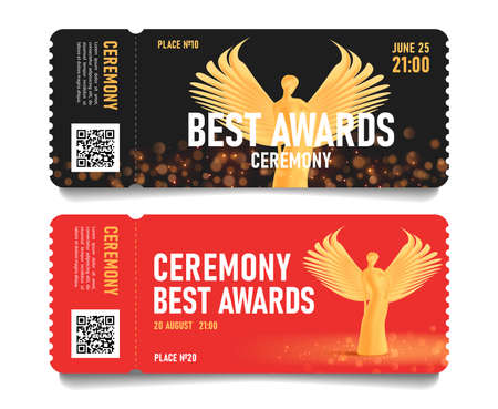 Ceremony event admission tickets with golden statuette of beautiful woman with wings, torn-off part with place and seat