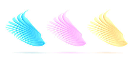 Set of 3d wings illustration, stylized 3d graphic, gold pink and blue colors, fairy tale