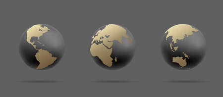 Set of Earth globe icons, 3d stylized illustration of sphere in black and gold colors