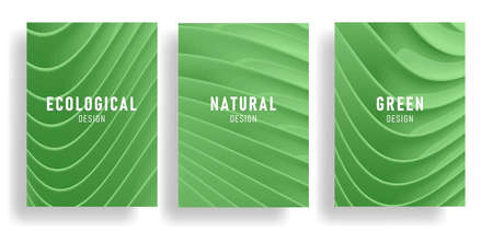 Set of nature green posters covers with 3d waves forming elegant surface, trendy stylish backdrop