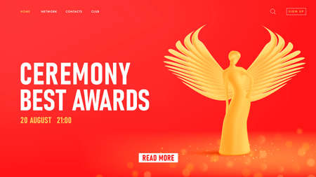 Ceremony event web banner with golden statuette of beautiful woman with wings, best awards landing page template on red backdrop Vectores