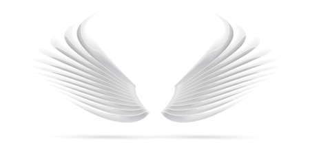 Stylized character equipment for video games, white 3d wings, isolated