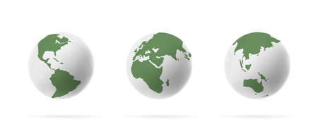 Set of Earth globe 3d icons isolated on light background, stylized white and green colors graphic