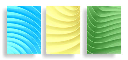 Set of poster or web banner backgrounds with 3d plastic waves texture Vectores