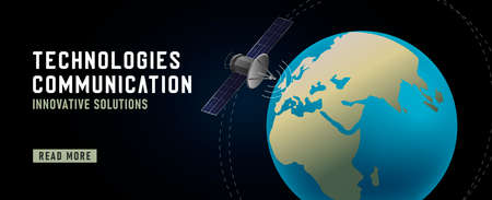 Earth orbit with satellite, 3d illustration for promo banner for technology company, web digital advertising Vectores