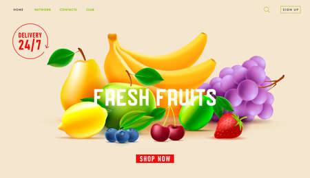 Fresh fruits delivery service web banner with 3d illustration of fresh fruits with twenty four seven icon