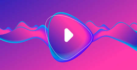 Music album or single cover with abstract fluid amorphic shape in fluorescent blue and pink gradient with play button Vectores