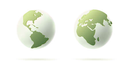 3d earth illustration, round sphere with continents, stylized in green and white colors