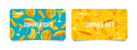 Set of summer gift cards or vouchers with bright 3d illustrations of summer beach attributes