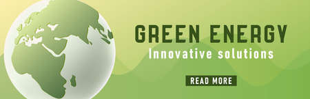 Green energy web banner with 3d illustration of stylized earth globe and read more button