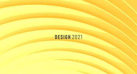 Abstract background with play of light and shadow on mono color yellow backdrop, 3d graphic effect Vectores