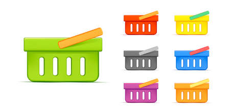 Shopping basket 3d vector icon set, side view simple graphic illustration in different colors Vectores