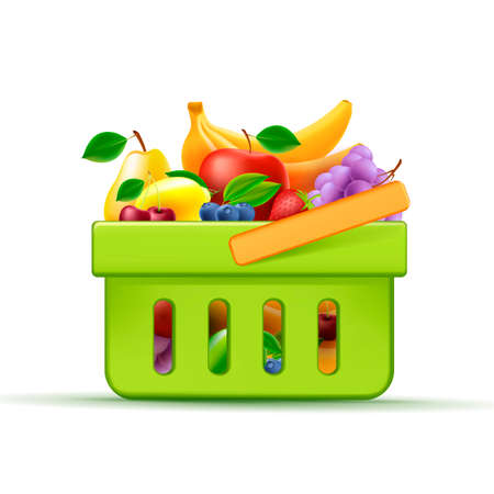 Shopping hand basket full of fresh fruits only, supermarket equipment, 3d green element with bright fruits Vectores