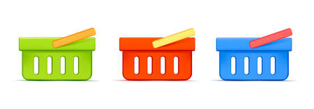 Shopping basket 3d vector icon set illustration, side view with colorful handles Vectores
