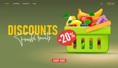 Web banner for supermarket landing page with 3d illustration of shopping basket full of fruits with discount