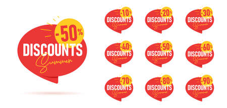 Set of summer discounts promo tags in shape of red speech bubble with sun and percent figure on it