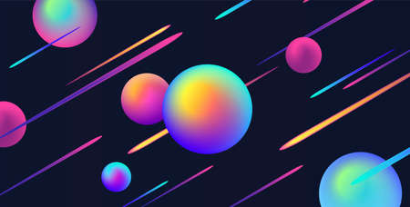 Abstract background with bright neon lights and fluorescent spheres on dark space background
