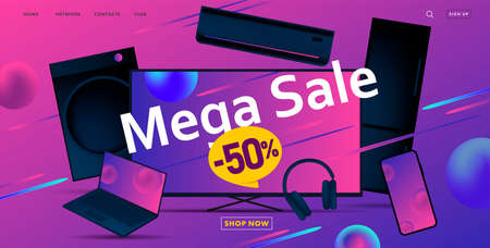 Mega sale advertiving banner with 3d illustration of dofferent home and smart electronic devices, discount up to fifty
