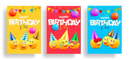 Set of birthday cards invitations or posters for children celebration with smiling faces in hats and paper stickers as letters