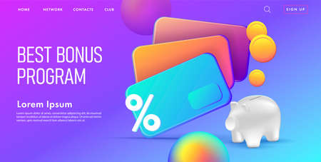 Web banner with 3d illustration of bank credit cards with saving pig and coins, modern plastic render graphic, online banking landing page Vectores