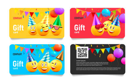 Set of birthday gift cards, template layout with funny illustration of yellow heads in hats with balloons and festive flags