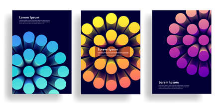 Set of banners or posters with 3d abstract illustration, big cone shapes forming round object, bright shapes on dark backdrop Foto de archivo