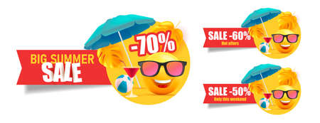 Set of summer sale web labels with yellow smiling faces under umbrella with cocktails on the beach, red ribbon with discounts and promo