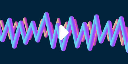 Abstract music album or single cover with 3d volum waves and play button