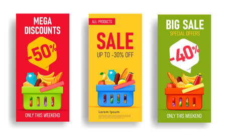 Set of flyer or banner templates for super market with basket full of food and drinks, fruits and vegetables