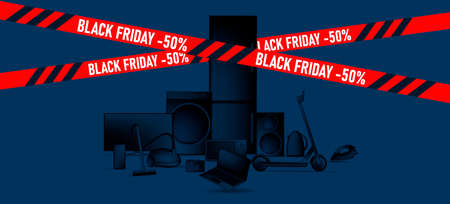 Black Friday sale advertiving banner with 3d illustration of different home and smart electronic devices, black gradient stylized objects with red ribbon
