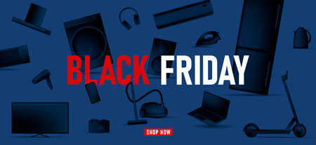 Black Friday banner with black monochrome illustration of different electronic devices and kitchen equipment and smart gagets on blue backdrop Vectores