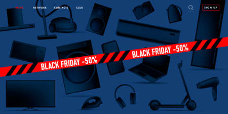 Black Friday sale advertiving banner on promo landing page with 3d illustration of different home and smart electronic devices, black gradient stylized objects with red ribbon