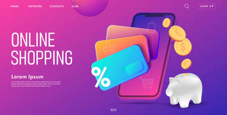 Web banner for online banking with 3d illustration of credit cards with coins and mobile phone, saving money pig metaphore