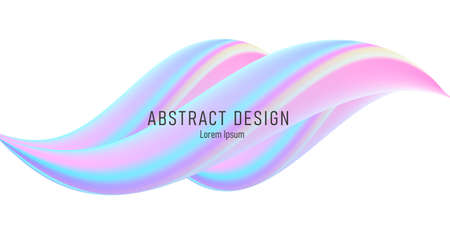 Abstract 3d shape, fluid glossy liquid forming wave, pastel soft colors Vectores