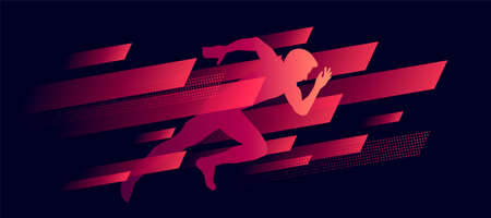 dynamic composition, running man illustration silhouette in speed geometric shapes, red on dark