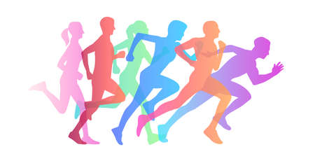 Graphic composition of people running maraphone, gradient silhouettes from jogging to speed run Vectores