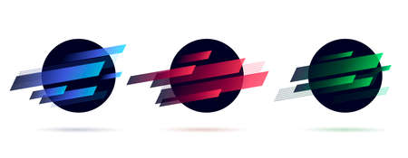 Set of dynamic graphic elements, circle shapes with random stripes, planet space abstract label Vectores