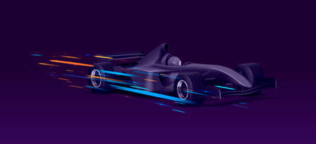 Web banner with super car sport bolide, black auto in movement with bright speed lights on dark background, graphic element Foto de archivo