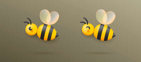 Vector illustration of the bee with transparent wings, glossy cartool icon Vectores
