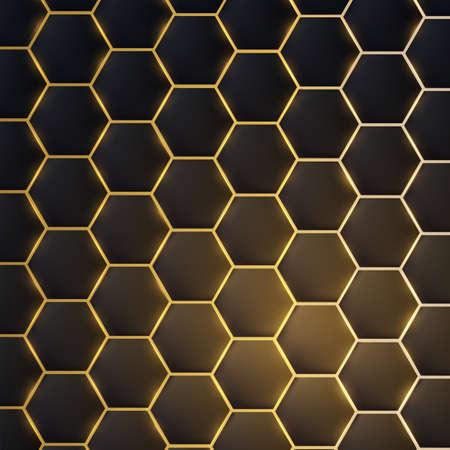 Dark realistic 3d texture of hexagon or honeycom, golden structure on black backdrop