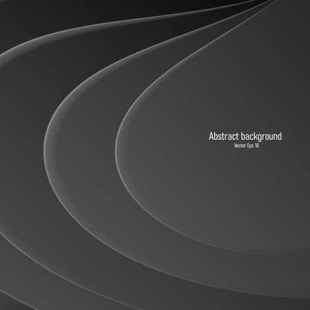 abstract 3d black background, volume curved lines in drop shape, fluid plates creating surface Vectores