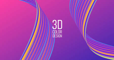 Abstract background with 3d curves in fluorescent colors, flat stripe in twist, modern graphic composition