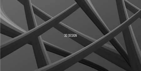 Abstract 3d composition of volume black cabels creating web, abstract shapes of alien nature, wallpaper design Vectores