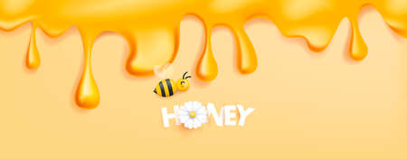 Honey syrup flowing from the top of the screen, bee illustration icon and honey text made of sticky paper with 3d white flower instead of o letter Foto de archivo