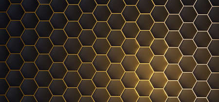 Dark realistic 3d texture of hexagon or honeycom, golden structure on black backdrop with light flare accent