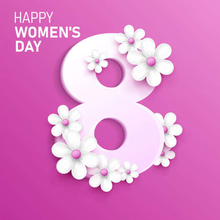 Happy wonens day postcard with 3d eight number and white daisy or chamomile flowers around it, pink bright backdrop