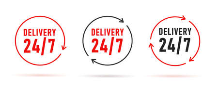 Delivery twenty four seven symbols in different colors with arrows forming round circle Vectores