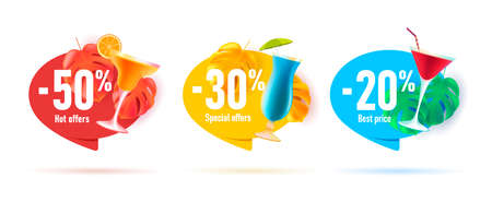 Set of beach bar cocktail discounts stickers or tags with 3d palm leaves and glass cocktails with percent off
